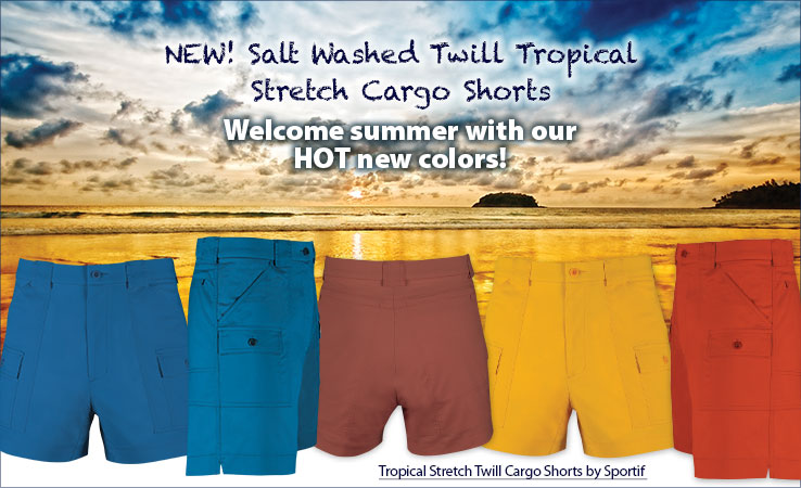 Shop New Salt Washed Twill Tropical Stretch Cargo Shorts