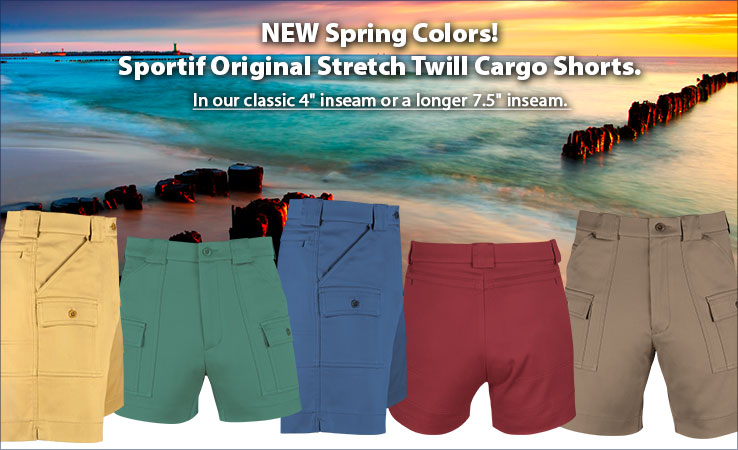 NEW Spring Colors! Sportif Original Stretch Twill Cargo Shorts