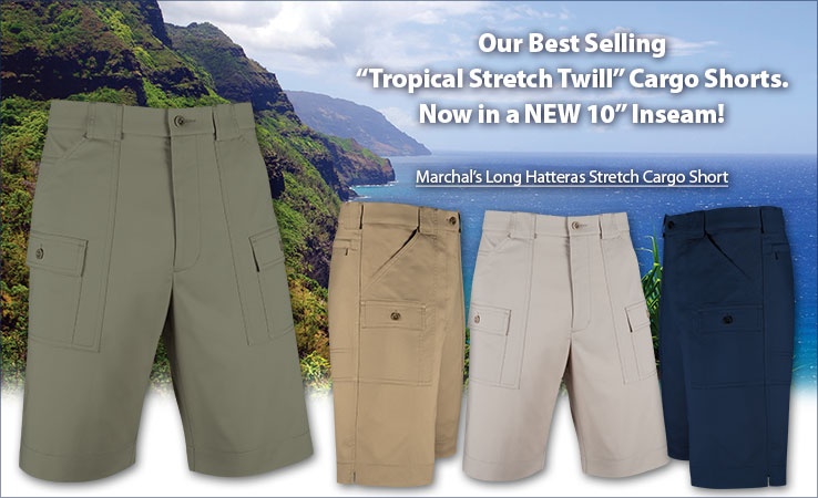 Shop Our Best Selling Tropical Stretch Twill Hatteras Cargo Shorts