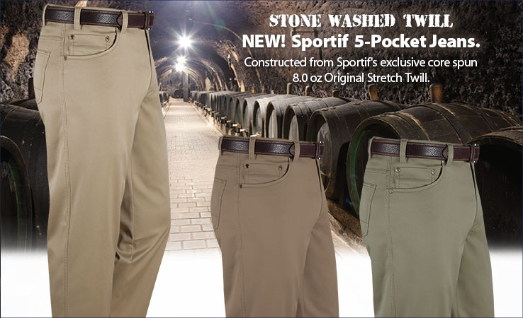 NEW! Stone Washed Twill 5-Pocket Jeans