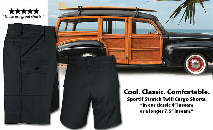 Cool. Classic. Comfortable. Sportif Original Stretch Twill Cargo Shorts.