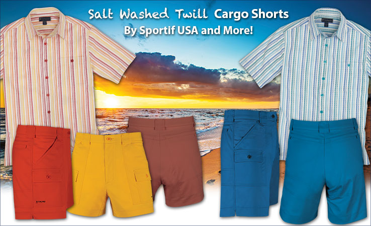 Sportif Salt Washed Twill Cargo Shorts, Carnivale Stripe Shirts, and More!